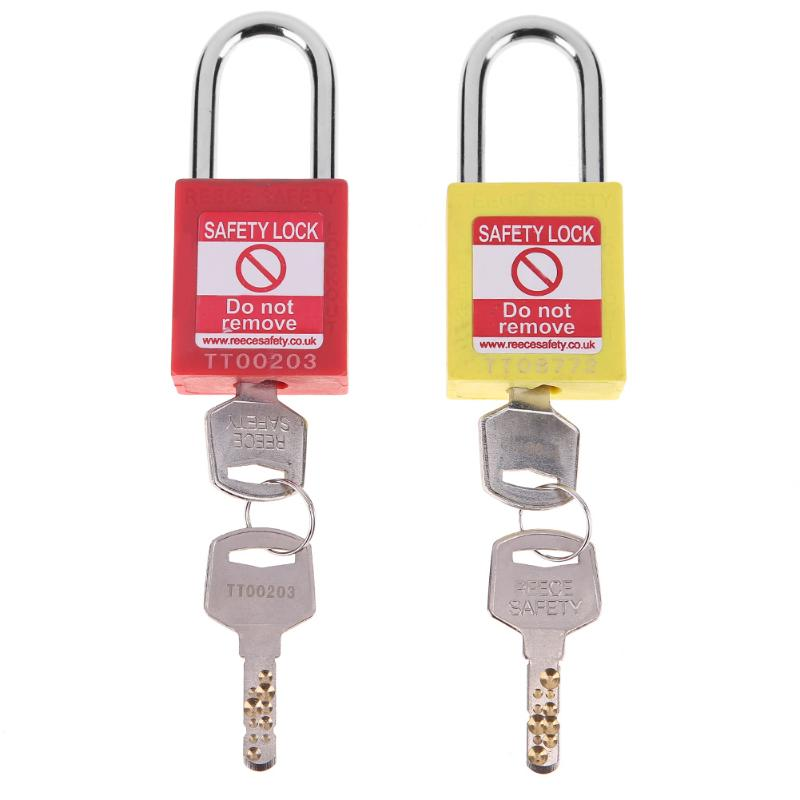 Hig Quality Anti-fireABS security padlock pure copper safety padlock conductive safety padlock with two keys Household Hardware