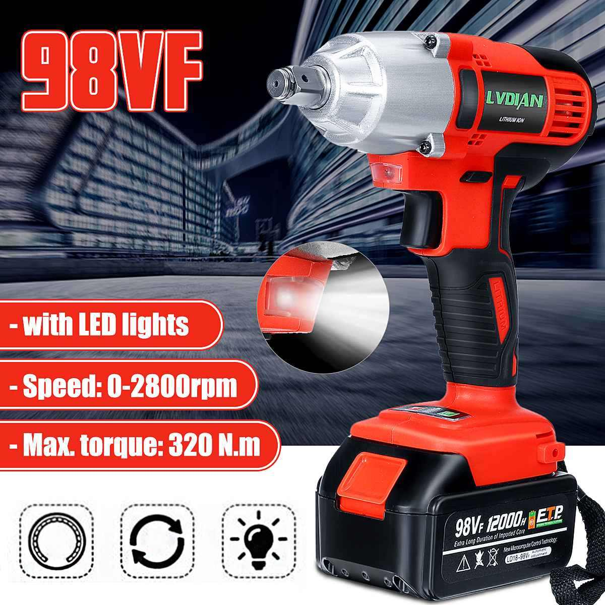 98VF 320NM 12000mAh Cordless Electric Impact Wrench Drill Electric Screwdriver Gardening Home Tools