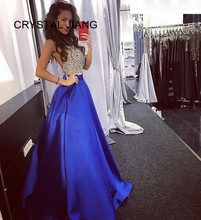 New Arrival 2019 Sexy Evening Dresses Custom made A Line Halter Heavy Beaded Royal Blue Satin Formal Long Gown