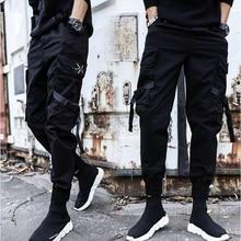 Новинка, уличная одежда, повседневные спортивные штаны с лентами, черные тонкие мужские штаны для бега с боковыми карманами, хлопковые камуфляжные мужские брюки