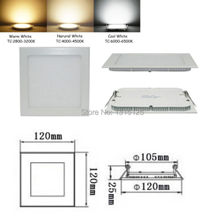 6W CREE Dimmable LED Recessed Ceiling Panel Lights with CE  Square LED downlight for homewarm white/cool white/+Free Shipping