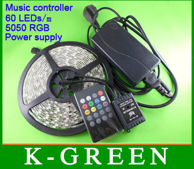 ФОТО 10 SetsX Wholesale 5050 RGB LED strip 5m/Roll + new style IR music controller + power supply 12V 6A express free shipping