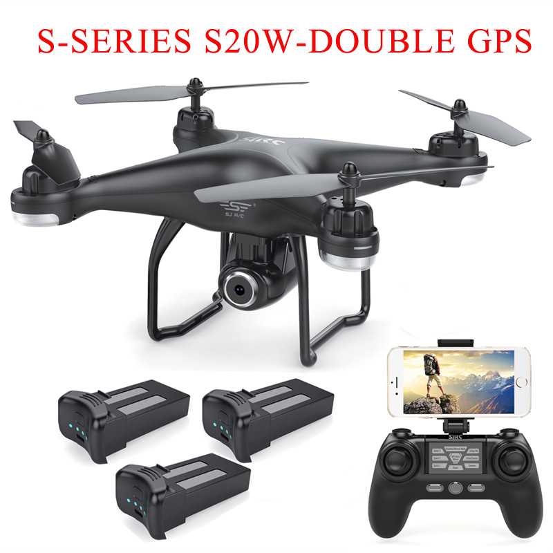 SJRC S20W Double GPS Dynamic Follow WIFI FPV With 1080P / 720P Wide Angle Camera Multi Batteries RC Drone Quadcopter VS X21SJRC S20W Double GPS Dynamic Follow WIFI FPV With 1080P / 720P Wide Angle Camera Multi Batteries RC Drone Quadcopter VS X21