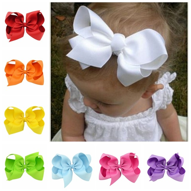20pcs/lot  6 Inch Large Ribbon Bow Hairpin Girl Bow With Clip Kid Hair Clip Boutique Hair Accessories Turban 588
