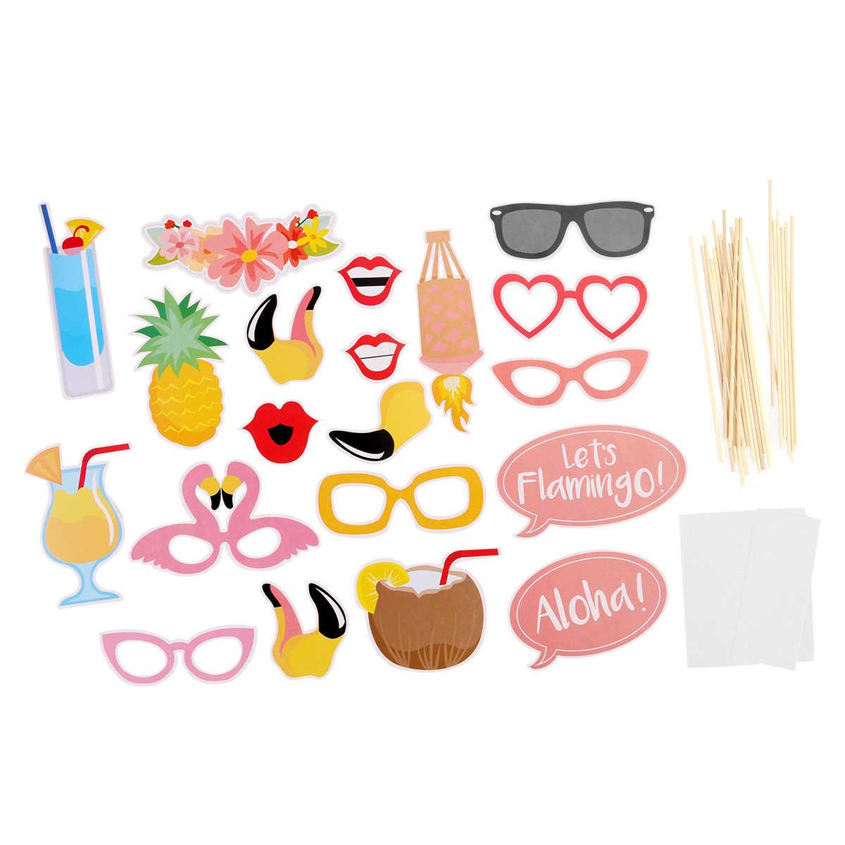 21 шт. Фламинго Гавайи тематические летние фотобанк реквизит Набор DIY подержанные товары Luau для праздника пляжные свадебные украшения