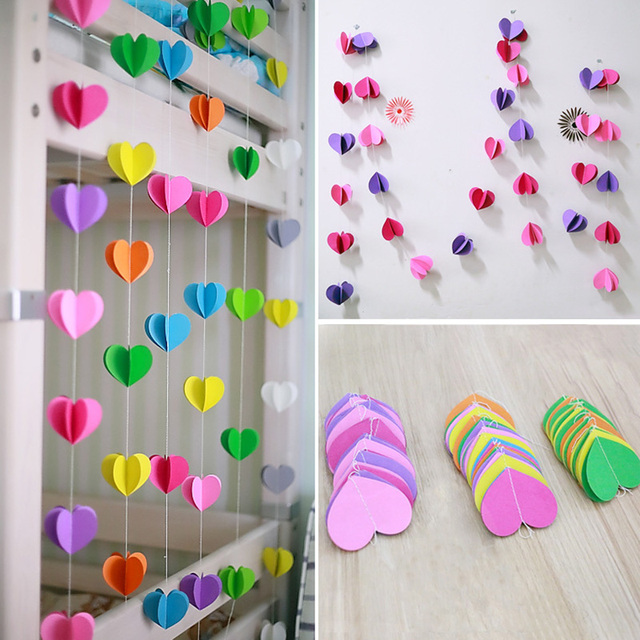 1 pcs 3m heart shaped cardboard garland wedding party home classroom