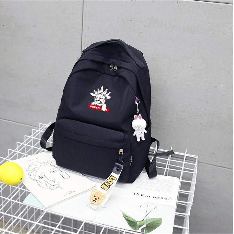 Ulzzang French Bulldog dogs satchel Japan and South Korea preppy style girls pink backpack students schoolbag bookbag travel bag