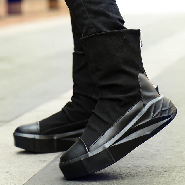 dfd3c2aff25 szsgcn414 Men 6 cm Height Increasing Platform Boots Back Zip Leather Shoes  Male Mixed Colors Y3 High Top Black White Men's Boots