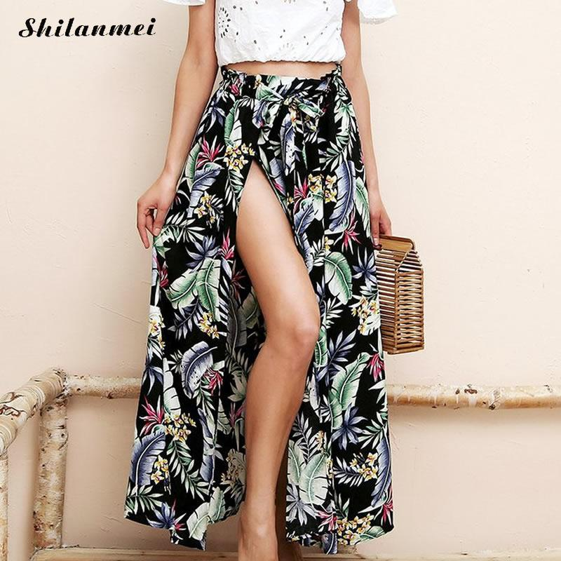 5a854d723f938a Cotton Fabric & Polyester Skirt,2014 Fashion, side slit & different size  for choice & ankle-length & breathable, printed, floral, more colors for  choice, ...