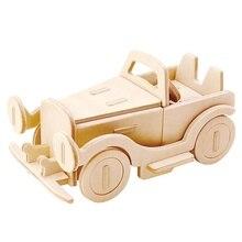 Robotime DIY 3D Wooden Car Truck Puzzle Game Children Kids Natural Color Toy Model Building Kits Educational Hobbies Gift JP237
