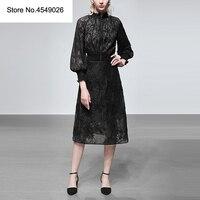 2019 Для женщин Весна комплект из двух предметов женское с буфами рукавами черный кружевной топ и юбка трапеция комплект модные наряды костюм