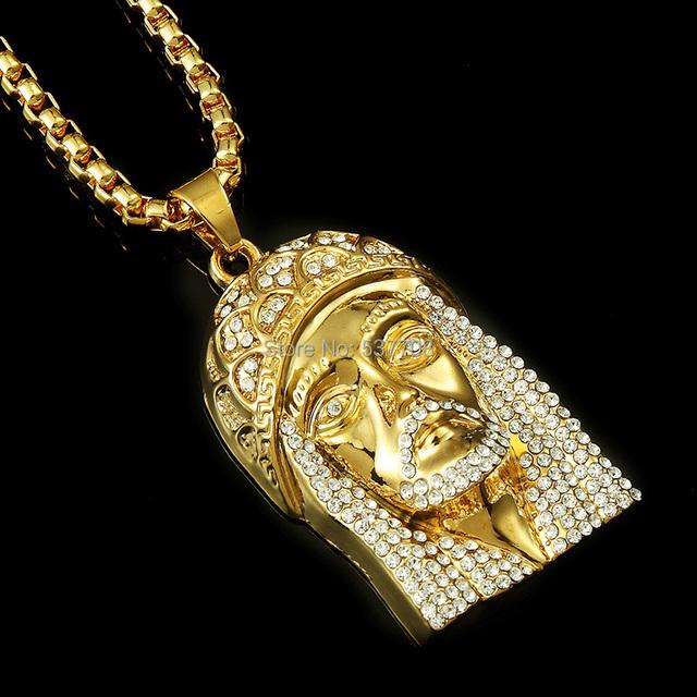 Los Hombres de moda Hiphop Cristal Declaración Colgante Largo Collar de Cadena de Joyería de Oro Plateado Cristo Jesús Collares para Las Mujeres 2014