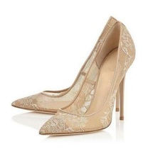 Women Summer Elegant Lace Mesh Leather Pointed Toe High Heel Shoes Nude Color Hollow Out Slip On Shallow Dress Pump High Quality недорого