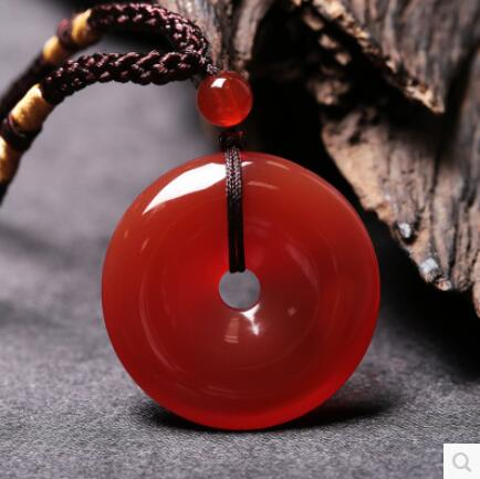 Красный агат безопасный пряжка кулон кристалл кулон нефрит кулон ожерелье ювелирные изделия мужчины и женщины пару моделей