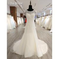 A Line Lace Wedding Dress Delicate Appliques Keyhole Back Bridal Gown
