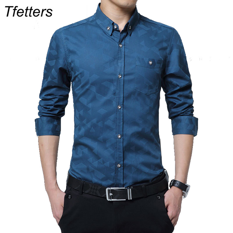 TFETTERS 100% Cotton Smart Casual Men Shirt Long Sleeve Jacquard Weave Slim Fit Shirt Men Cotton Mens Dress Shirts Men Clothes