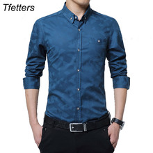 TFETTERS 100% Cotton Smart Casual Men Shirt Long Sleeve Jacquard Weave