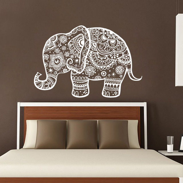 Indinan Elephant Wall Decals Mandala OM Viny Bedroom Wall Stickers Buddha  Removable Home Decor CW