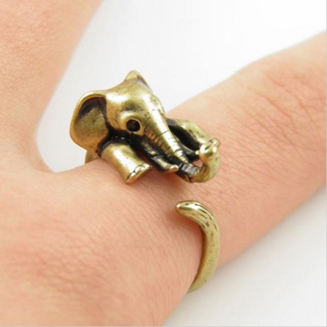Vintage Elephant Adjustable Wrap Ring