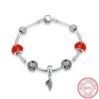 Ann Snow Original Wing Shape Bracelets Real 925 Sterling Silver Flower Engraved Design Red Glass Beads