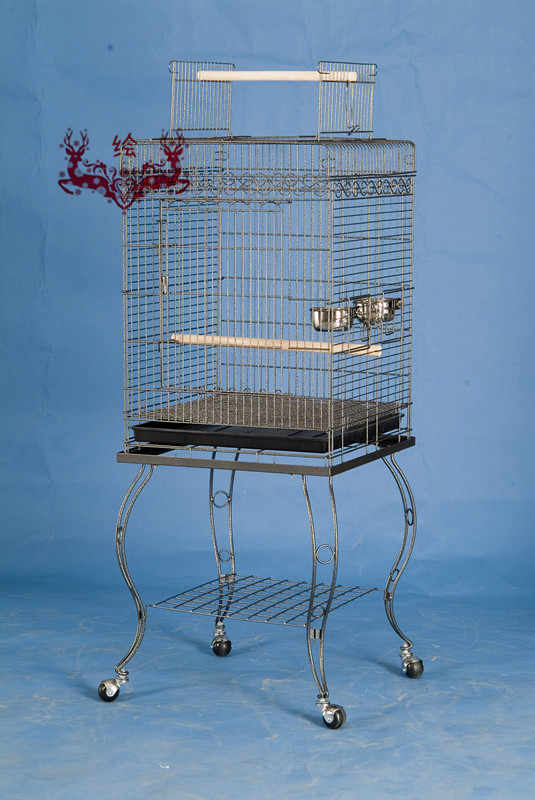 Free Shipping To USA Parrot Bird Large Cage Open Top With Stand Bird Home 20x20x57'' Black Vein B12X