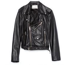Black Red XS-L All-Matched Washable Leather Jacket Women Blue Short Waisted Slim PU Lapel Zipper Coat Jaqueta De Couro Feminino