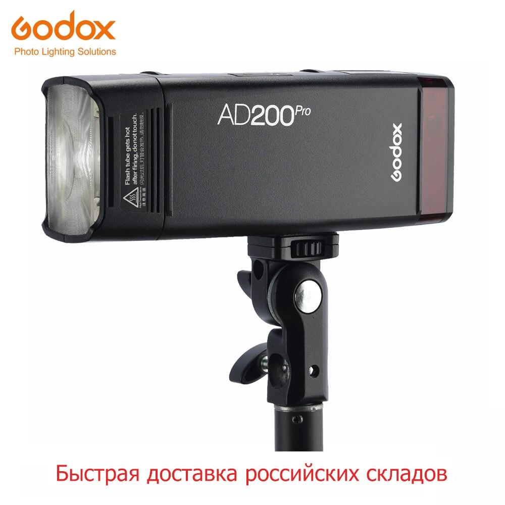 Livraison DHL Godox AD200Pro AD200 Pro 200Ws 2.4G Flash stroboscope 2900mAh batterie ampoule nue Speedlite Fresnel tête pour appareil photo reflex numérique