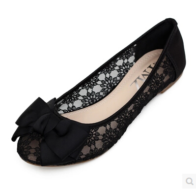 ФОТО Plus size 34-41 Black khaki lace bow flats shoes for womens DS219 fashion round toe bowtie sweet spring summer fall flats shoes