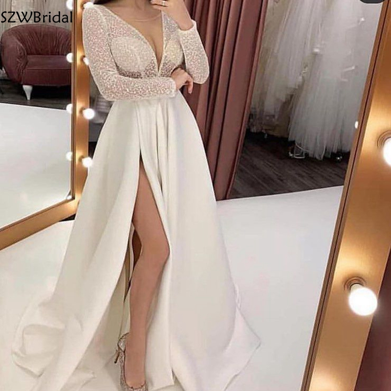 New Arrival Long Sleeves Arabic Abendkleider 2019   Evening     Dress   Long Slit Side kaftan Dubai Formal   Evening   Gowns Robe De Soiree