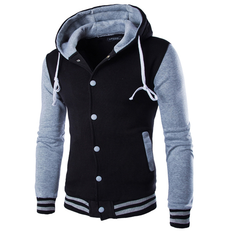 buy new jacket men veste homme 2016 fashion hooded design mens slim fit college. Black Bedroom Furniture Sets. Home Design Ideas