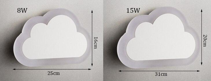 nuvens lâmpadas de parede acrílico & ferro