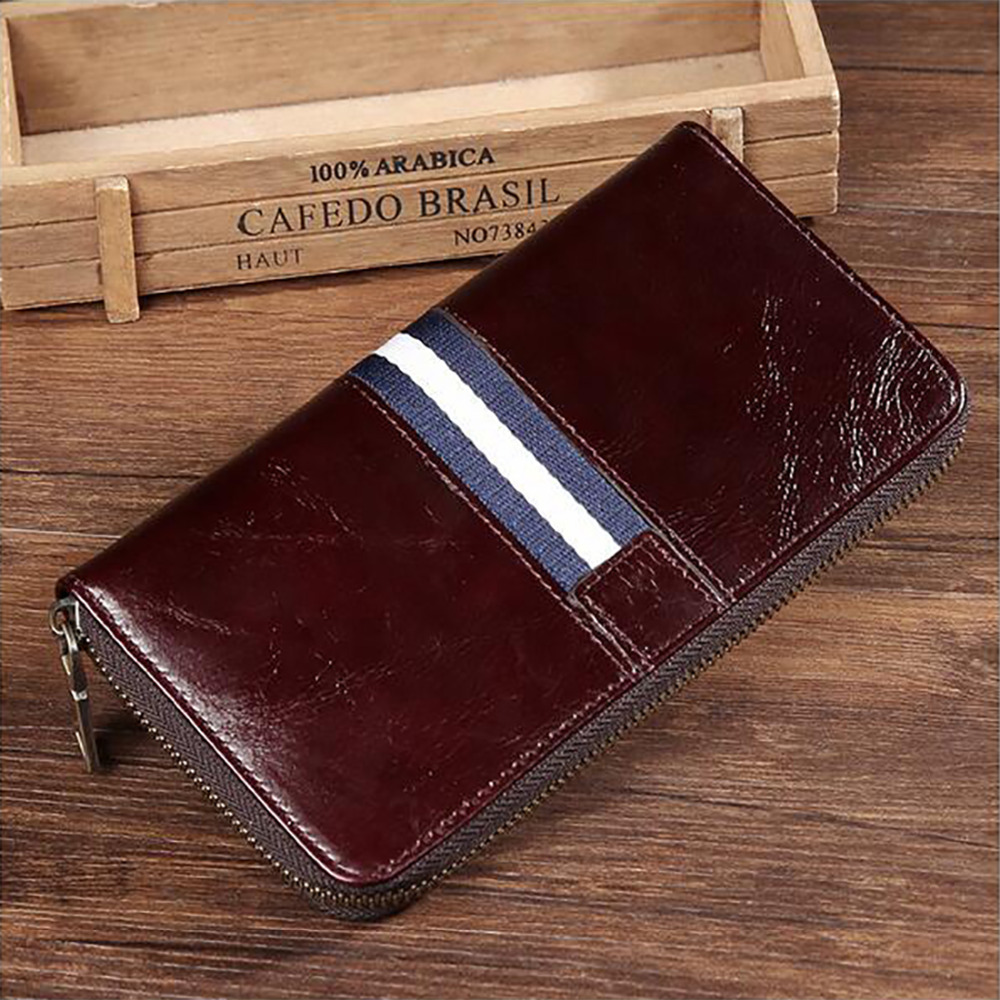 New Arrival Genuine Leather Men Wallet Business Clutch Money Bag Cash Coin Pocket Card Holder Zipper Long Purse High Quality