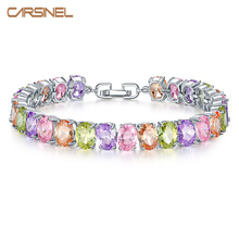 FYM Brand luxury 6 Color 18cm Chain Link Bracelet AAA Zircon CZ Colorful Bracelets for Women Wedding Jewelry Gift BR0166 fym high quality rose gold color crystal chain link bracelet femme aaa zircon cz colorful bracelets for women wedding jewelry