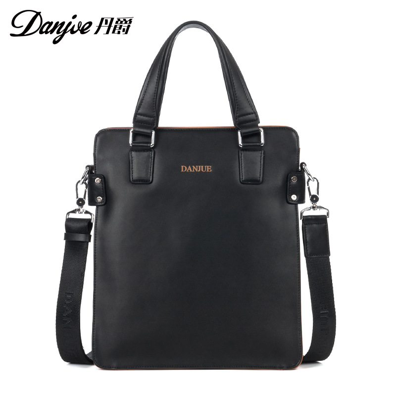 DANJUE Men Bag High Quality Leather Male Shoulder Bag Vertical Daily Bag Genuine Leather Handbag Male Business Messenger Bag