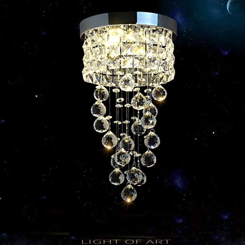 LukLoy Aisle Corridor Crystal Ceiling Lamp Hotel Lobby Decorative Lights Home Living Room Balcony Porch Simple Crystal Lamp