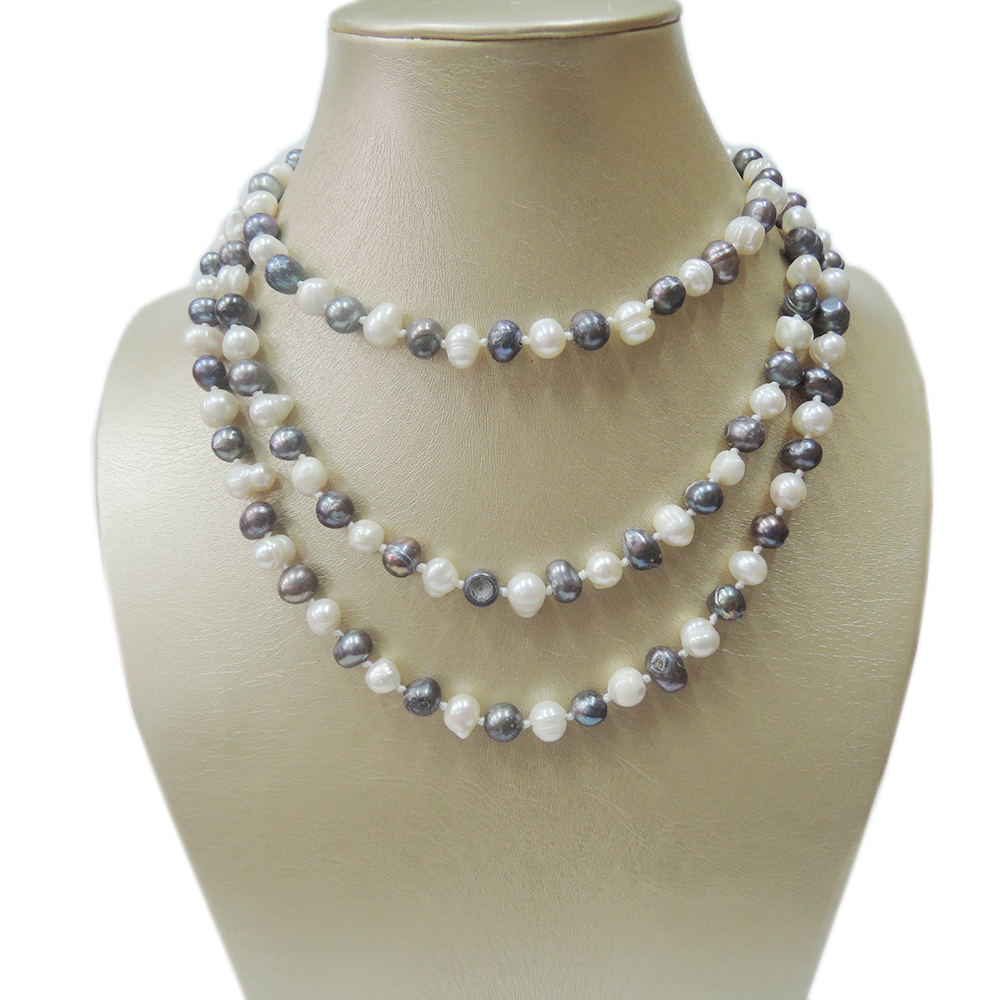 100% NATURE FRESH-WATER PERLE LONGUE NECKLACE-120 CM collier dans près de forme ronde