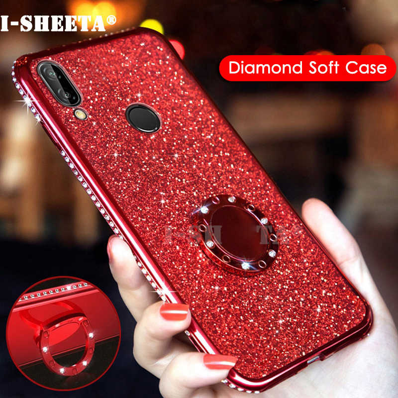 Ultra Thin Soft TPU Case For Huawei Honor 8X Max 3D Bling Plating Clear Cover For Huawei Honor 8C 360 Magnetic Holder Ring Stand