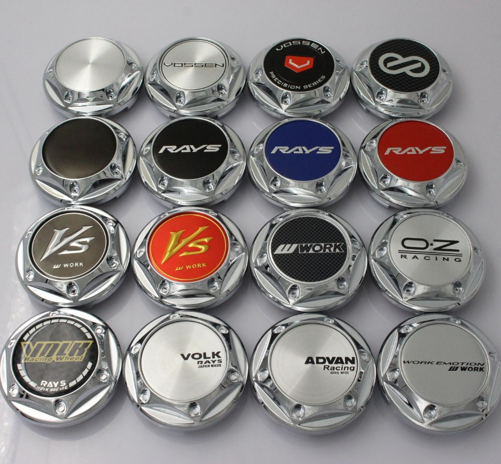 Kom Power 68mm Chrome Wheel Center Hub Cap Advan Volk Rays