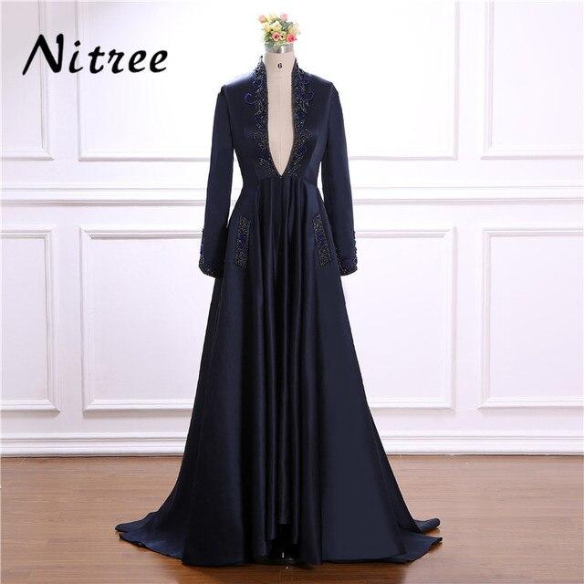 Elegant Muslim Beading Sequins Prom Dress Turkish Arabic Moroccan Kaftan  Dubai Evening Gowns Dress For Weddings 2018 African 65999e2ff148