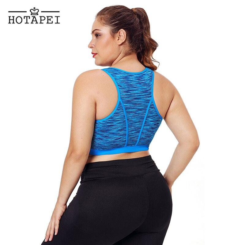 cfe7b9d952536 HOTAPEI Fitness Sports Bra Black Sleevelss Racerback Vest Top Plus Size  Yoga Bras for Women Padded Running Tank Tops Gym Shirt USD 11.73 piece