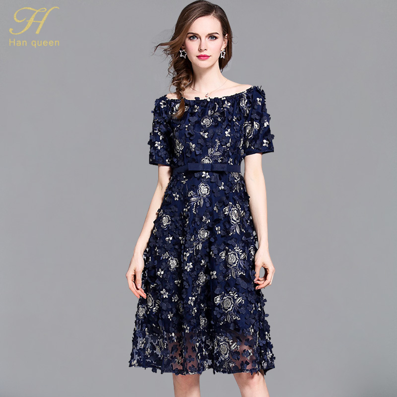 H Han Queen Manual three-dimensional flower Patchwork Casual Dress Slash neck Vintage Slim Sexy OL Vestidos Women Party Dresses