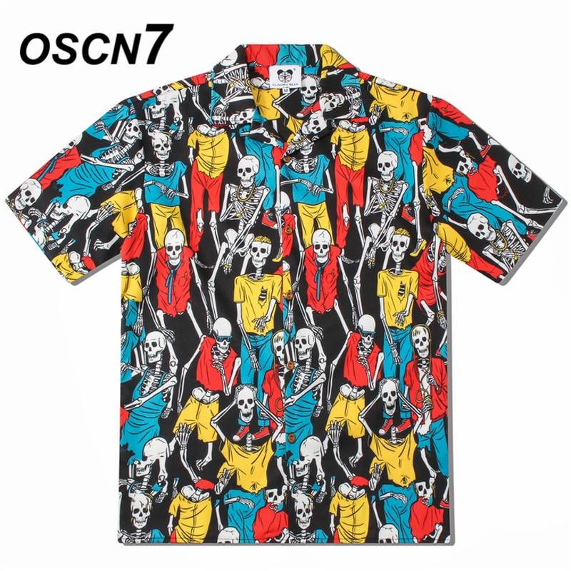 OSCN7 2019 Casual Printed Short Sleeve Shirt Men Street Summer Hawaii Beach Women Short Sleeve Shirts Harujuku Mens CS005