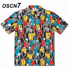OSCN7 2019 Casual Printed Short Sleeve Shirt Men Street 2019 Hawaii Beach Women