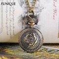 FUNIQUE Карманные Часы Ожерелье Цепь Розы Резные Круглый Бронзовый Тон 85 см 40 х 27 мм Высокое Качество Старинные стиль Подарки Для Женщин