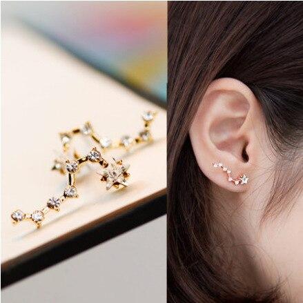 Cute Cubic Zircon Stud Earrings for Girls Women Big Dipper Zodiac Constellation Ear Climbers Gold / Silver Color Korean Jewelry