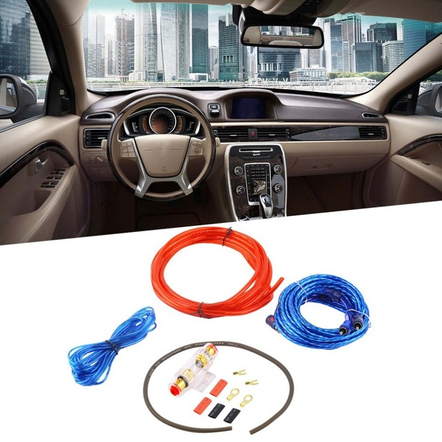 Cheap Metal 800W 8GA Car Audio Subwoofer Amplifier AMP Wiring Fuse Holder Wire Cable Support Installation Kit Low Noise Distortion