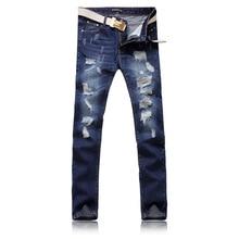 Fashion city famous brand spring and summer hot dark blue men's jeans straight type hand-worn folds feet slim trousers men цены онлайн