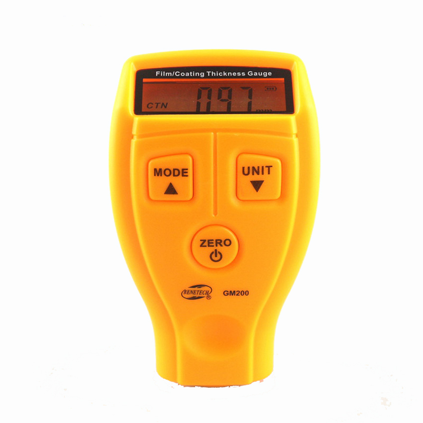 GM200 Film/Coating Thickness Gauge Iron-based / non-ferrous dual-use film thickness / thickness meter Car Paint Gauge Thickness gm200 coating thickness gauge standard model with built in probe for ferrous metal substrates yellow