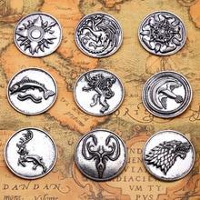 Game of Thrones Stark Family Lion Wolf Dragon Deer Lannister Targaryen Baratheon Arryn Greyjoy Members Necklace
