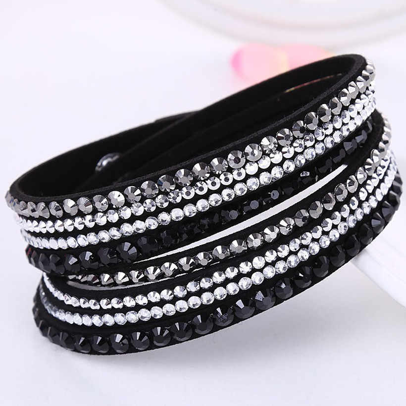 HOCOLE Fashion Wrap Leather Bangle Charm Leather Bracelet Rhinestone Crystal Jewelry For Women feminino pulseras mulher Jewelry